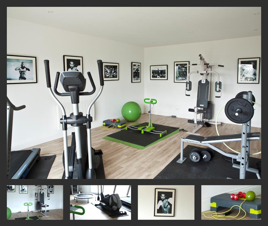 Gym Room - complete with running machine, cross-trainer, free weights, multi-gym machine, skipping rope, trampet
