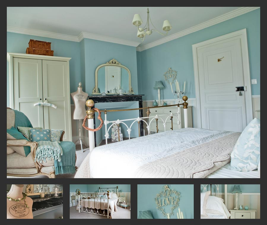 Guest room France, baby blue double bedroom, best hotel france, 5 star guest room